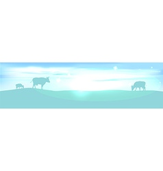 Banner with lightening landscape and cow vector