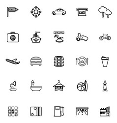 Map place line icons on white background vector