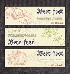 Beer fest banners with hand drawn crayfish hops vector