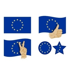 European union flag icons set vector