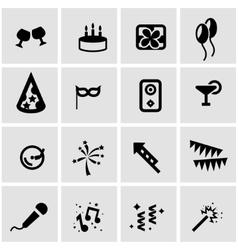 Black birthday icon set vector