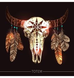 Buffalo skull with feathers american totem vector