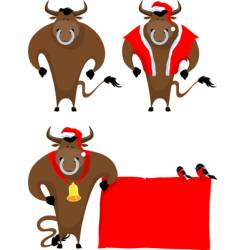 cartoon bull vector image vector image