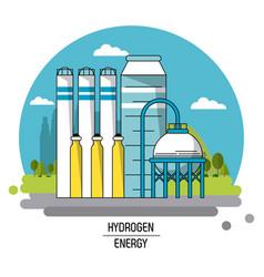 color landscape image hydrogen energy production vector image