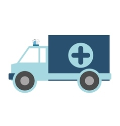 Color silhouette with ambulance blue cross vector