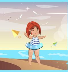cute little girl on beach vector image vector image