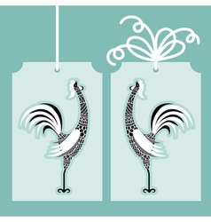 decorative rooster with hand drawn ornamental body vector image vector image