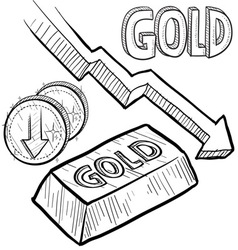 doodle currency gold decrease vector image vector image