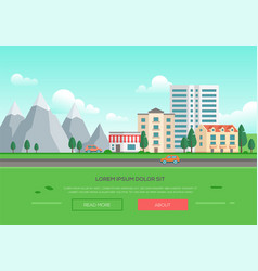 Ecofriendly town by the mountains - modern vector