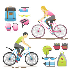 flat bicycle equipment icon rider vector image vector image