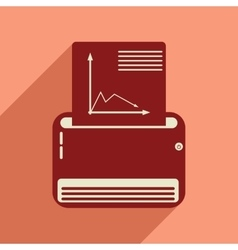 Flat web icon with long shadow fax machine vector