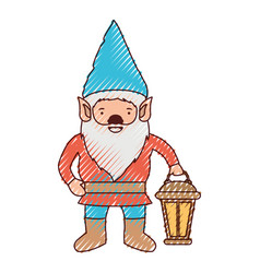 gnome with hand lamp in colored crayon silhouette vector image