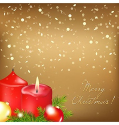 Gold christmas card with red candle vector