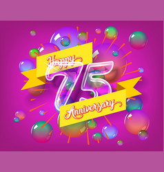 Happy 75th anniversary glass bulb numbers set vector
