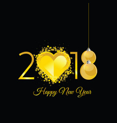 Happy new 2018 year gold with heart vector
