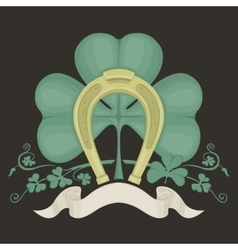 horseshoe and clover vector image