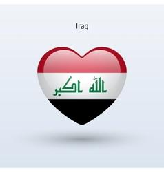 Love Iraq symbol Heart flag icon vector image