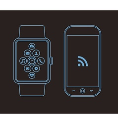 Outline concept design with phone and smart watch vector