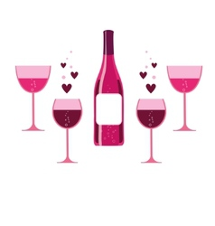 pink wine glasses and bottle vector image