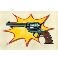 Pop art retro revolver vector image vector image