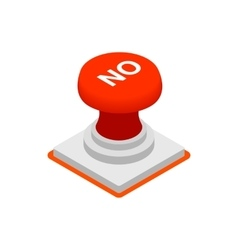 Push button NO icon isometric 3d style vector image