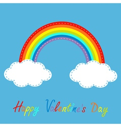 Rainbow in the sky dash line happy valentines day vector