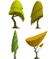 Set of four stylized cartoon trees vector image