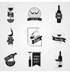 set of wine logo or poster concepts vector image vector image
