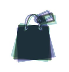 Shopping bag sign with tag colorful icon vector