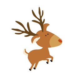 Silhouette caricature color of reindeer jumping vector