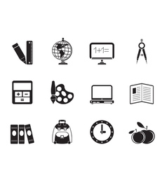 Silhouette School and education icons vector image