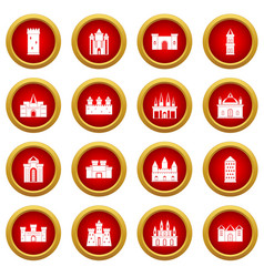 Towers and castles icon red circle set vector