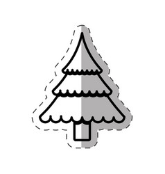 tree pine christmas cut line vector image