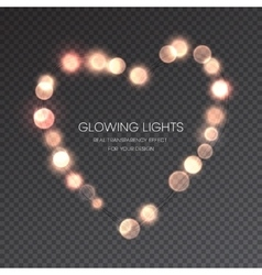 Valentines day glowing lights heart on vector