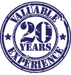 Valuable 20 years of experience rubber stamp vect vector