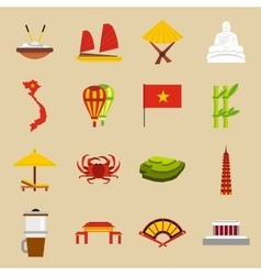 Vietnam travel icons set flat style vector image