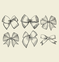 vintage ribbon bows vector image vector image