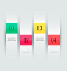 White vertical stripes four steps infographic vector