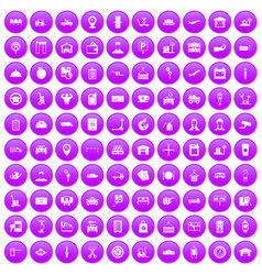 100 loader icons set purple vector