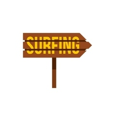 Surfing direction sign icon flat style vector