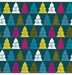 Seamless pattern with ornate Christmas trees vector image