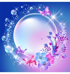 Flowers and bubbles vector image