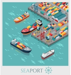 Isometric commercial sea port vector