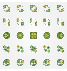 Colorful currency exchange icons vector