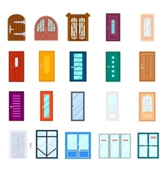 Entrance door isolated set in flat design vector