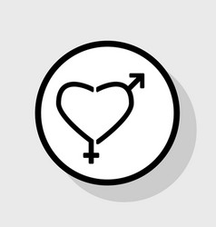 Gender signs in heart shape  flat black vector