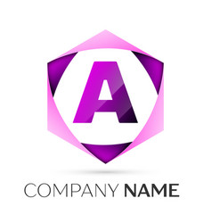letter a symbol in the colorful hexagonal vector image