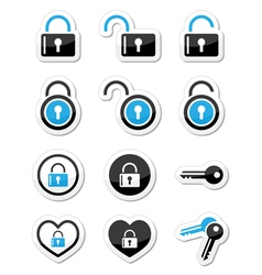 Padlock key account icons set vector