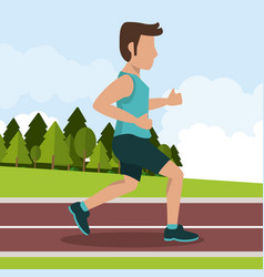 Colorful background with male athlete jogging in vector