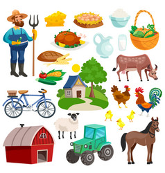 Collection of rural decorative cartoon icons vector